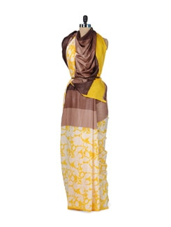 Chic Yellow Floral Saree - ROOP KASHISH