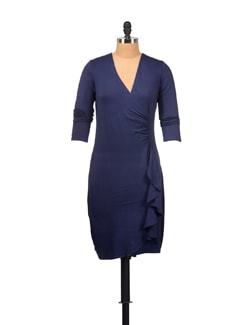 Navy Blue Wrap Dress - Vvoguish