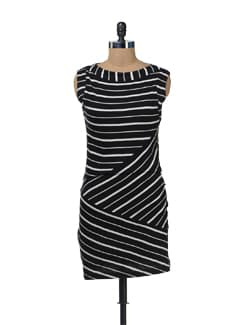 Striped Black And White Dress - Color Cocktail