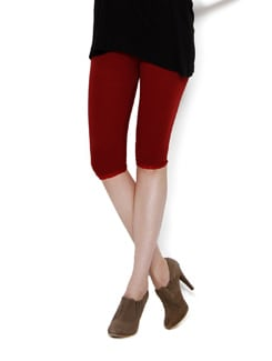 Maroon Capri Leggings With Lace - Thegudlook