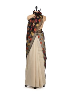 Off White Chanderi Saree With Polka Dotted Organza Pallu - URBAN PARI