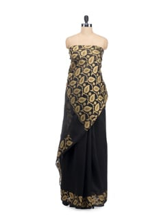 Black Organza Silk Saree - Bunkar