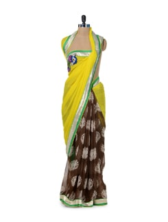 Brown & Yellow Printed Saree - ROOP KASHISH