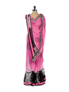 Pink & Black Printed Designer Saree - ROOP KASHISH