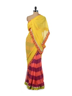 Yellow & Coral Printed Designer Saree - ROOP KASHISH