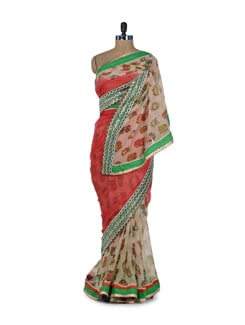 Stylish Red & Green Owl Print Saree - ROOP KASHISH