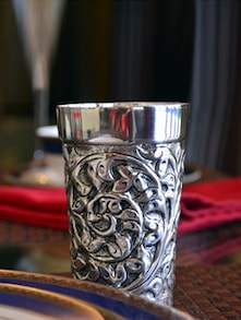 Silver Antique Work Glass