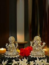 Lakshmi And Ganesha Idols On  Flower Base - AG