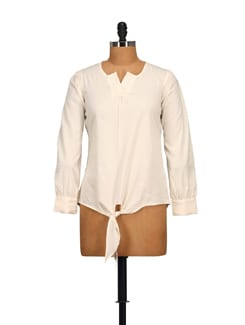 Pleated V-neck Top - Off White - STYLE QUOTIENT BY NOI