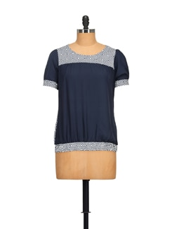 Geometrical Pattern Nvy Blue Top - STYLE QUOTIENT BY NOI