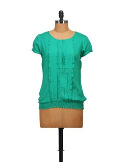Pleated Green Top - STYLE QUOTIENT BY NOI