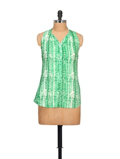 Green Sleeveless Top - STYLE QUOTIENT BY NOI
