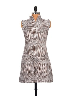 Abstract Striped High Neck Dress- Brown - STYLE QUOTIENT BY NOI