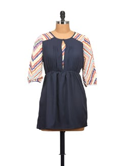 Navy Blue Dress With Printed Sleeves - STYLE QUOTIENT BY NOI