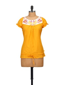 Embroidered Yellow Top - STYLE QUOTIENT BY NOI