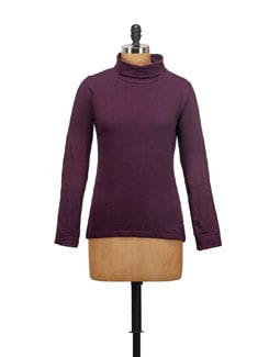 Basic Purple High Neck Top - STYLE QUOTIENT BY NOI