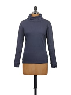 Navy Blue High Neck Top - STYLE QUOTIENT BY NOI