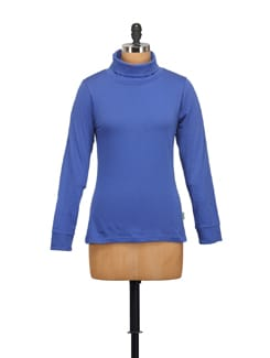 Royal Blue High Neck Top - STYLE QUOTIENT BY NOI