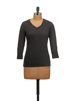 Black V-neck Top - STYLE QUOTIENT BY NOI