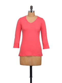 Coral Pink V-neck Top - STYLE QUOTIENT BY NOI