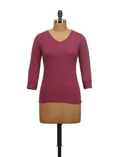 Wine Melange V-neck Top - STYLE QUOTIENT BY NOI