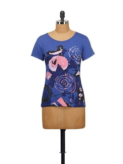 Kitsch Graphic Tee- Royal Blue - STYLE QUOTIENT BY NOI