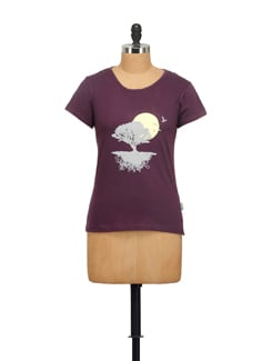 Nature Print Purple T-shirt - STYLE QUOTIENT BY NOI