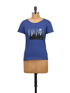 City Landscape Print Tee- Royal Blue - STYLE QUOTIENT BY NOI