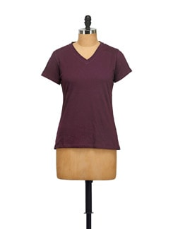 Basic Dark Purple T-shirt - STYLE QUOTIENT BY NOI