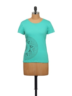Motion Print Green T-shirt - STYLE QUOTIENT BY NOI