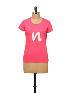 Stylized 'N' Print T-Shirt - STYLE QUOTIENT BY NOI