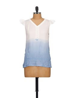 Chic White & Blue Shaded Top - NOI