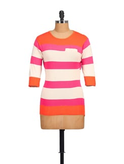 Pink & Orange Striped Top - NOI