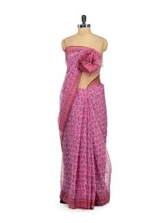 Dark Pink Printed Kota Cotton Saree - Nanni Creations