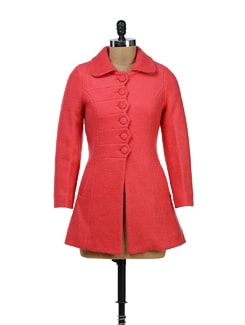 Pink Wool Coat With Zig Zag Pattern - Yell