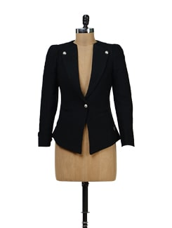 Black Wool Blend Blazer - Yell