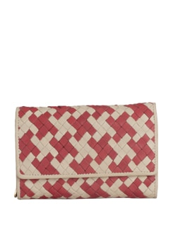 Beige And Red Wallet In A Textured Weave - Eske
