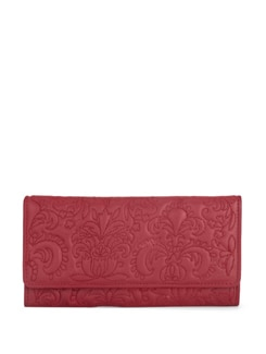Red Wallet With Textured Floral Motifs - Eske
