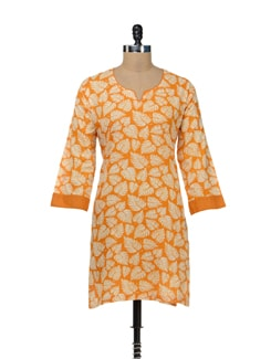 Orange Leaf Print Kurta - STRI