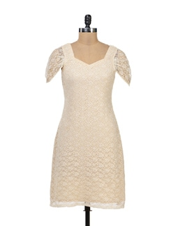 Beige Lace Dress - Kapade