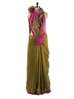 Pink Raw Silk Saree - Desiweaves