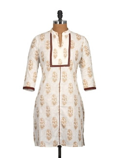 Wheat Brown Cotton And Block Print Knee Length Kurti - Tamirha