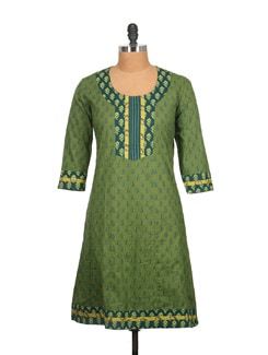 Olive Green And Blue Block Print Cotton Kurti - Tamirha