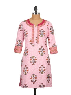 Light Pink Block Print Patchwork Cotton Kurti - Tamirha