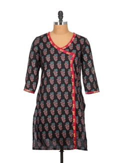 Angrakha Style Block Print Kurti With Beaded Lace - Tamirha