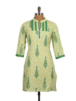 High Collar Neck Block Print Cotton Kurti - Tamirha