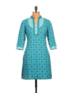 Cerulean Blue And Dark Green Paisley Print Cotton Kurti - Tamirha