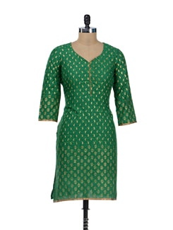 Green & Gold Almond Print Kurta - RIYA