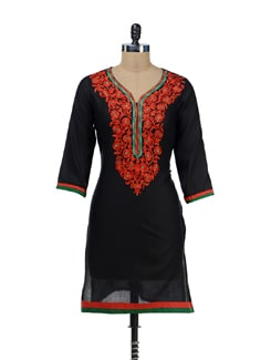 Black & Red Embroidered Kurta - RIYA