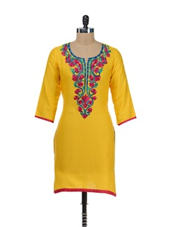 Elegant Yellow Embroidered Kurta - RIYA